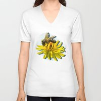 bees V-neck T-shirts featuring Bees by Moody Muse