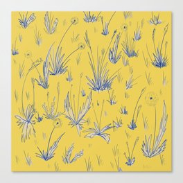 Dandelion Field - Yellow and Blue Canvas Print