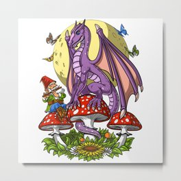 Magic Mushrooms Dragon Metal Print