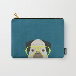 Emerson - Pug with neon Hipster Glasses, Cute Retro Dog, Dog, Husky with Glasses, Funny Dog Carry-All Pouch