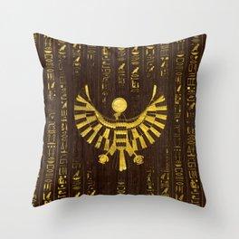 Golden Egyptian Horus Falcon and hieroglyphics on wood Throw Pillow
