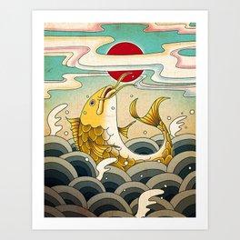 Minhwa: Jumping Carp A Type Art Print