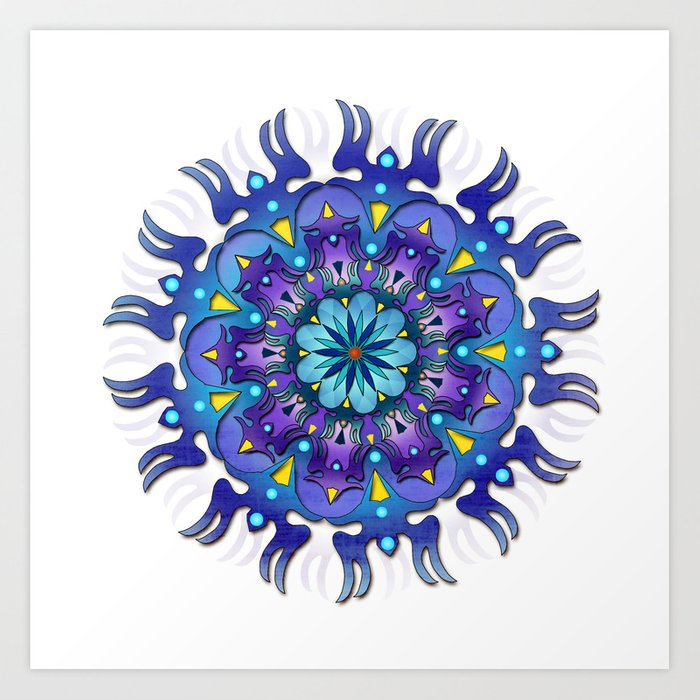 Colored Blue Mandala Art Print By Boramysina