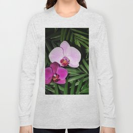 Orchids with palm leaves Long Sleeve T-shirt