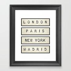London   Paris   New York   Madrid Framed Art Print