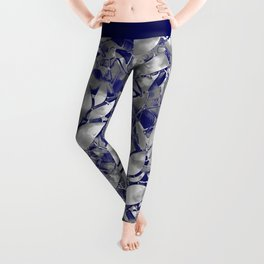Grunge Art Silver Floral Abstract G169 Leggings