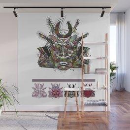 "Samurai 3. (Samurai mask ""C"" big and 4 small masks) Wall Mural"