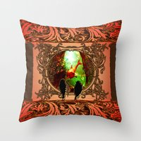 dolphin Throw Pillows featuring Dolphin by nicky2342