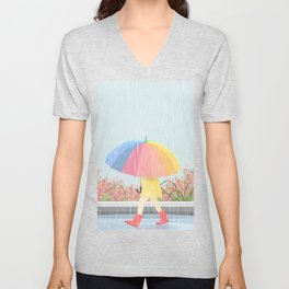 Girl Walking In Rain Day Unisex V-Neck