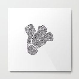 anatomical heart abstract doodle silhouette Metal Print