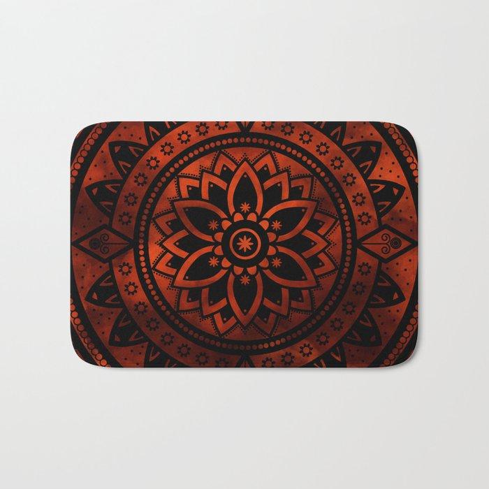 Burnt Orange Black Patterned Flower Mandala Bath Mat