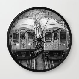 Black and White Chicago Train El Train above Wabash Ave the Loop Windy City Wall Clock