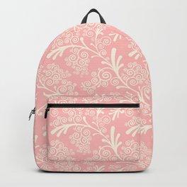 Vintage pink ivory geometrical floral damask pattern Backpack