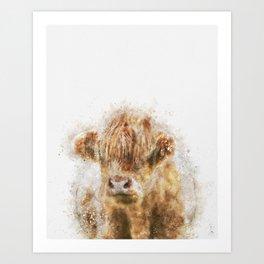 Highland Cow Watercolor Art Print
