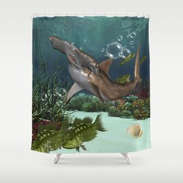 Awesome hammerhead in the deep ocean Shower Curtain