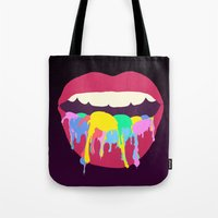 tooth Tote Bags featuring Sweet Tooth by Popsicle Illusion