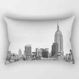 The New York Cityscape City (Black and White) Rectangular Pillow