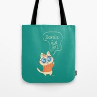 bonjour Tote Bags featuring Bonjour by AronDraws