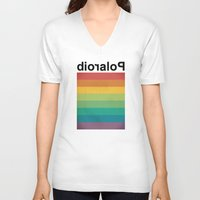 polaroid V-neck T-shirts featuring POLAROID by WordsnStripes