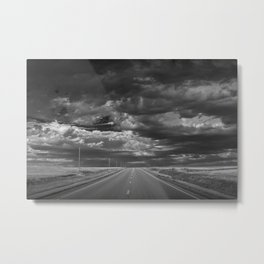 Highway 2 on the Northern Montana Prairie in Black and White Metal Print