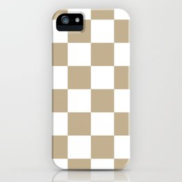 Large Checkered - White and Khaki Brown iPhone Case
