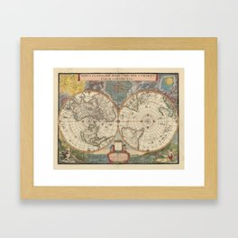 1672 World Polar Projection Map  Framed Art Print