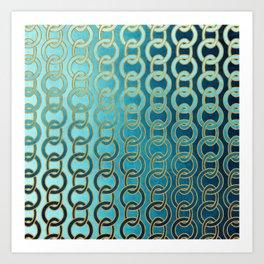 Ocean Blue Watercolor Gold Chain Links Art Print
