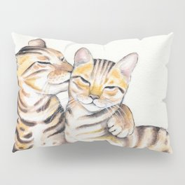 Bengal Cats Love Watercolor Ink Art Pillow Sham