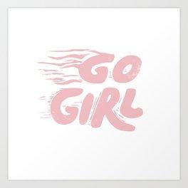Go Girl vintage pink Art Print
