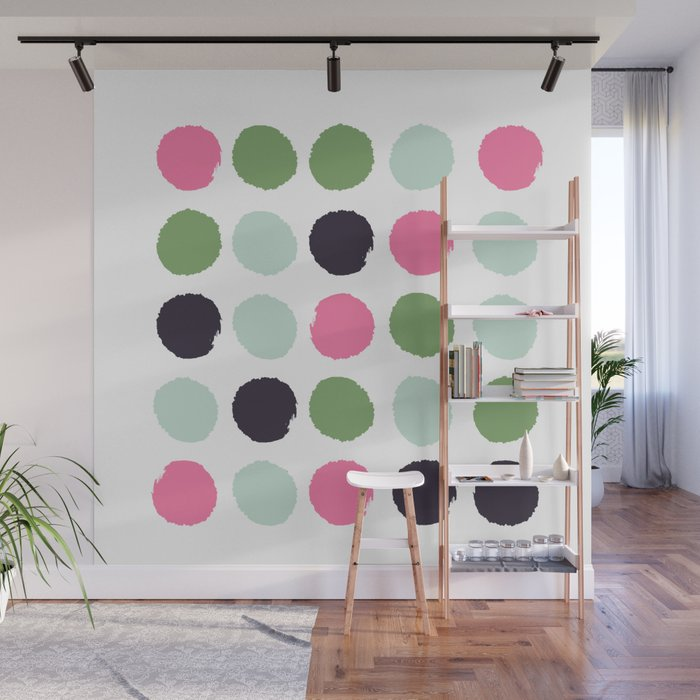 Painted Dots Minimal Colorful Pattern Polka Nursery Baby Decor Wall Mural