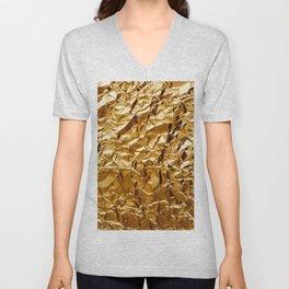 Crumpled Golden Foil Unisex V-Neck