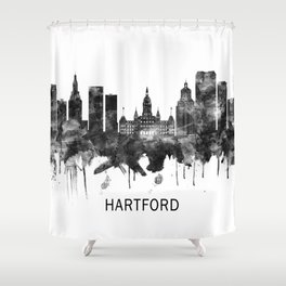 Hartford Connecticut Skyline BW Shower Curtain