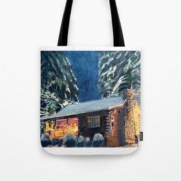 """Cabin In The Woods"" Log Cabin Original Art by Bryn Reynolds Tote Bag"
