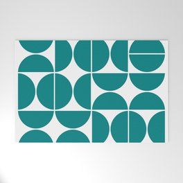 Mid Century Modern Geometric 04 Teal Welcome Mat