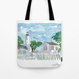 Key West Florida Lighthouse with White Fence Tote Bag