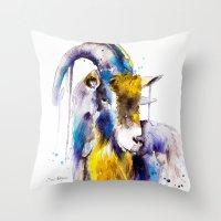 goat Throw Pillows featuring Goat  by Slaveika Aladjova