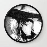 johnny depp Wall Clocks featuring Johnny Depp by DeMoose_Art
