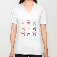 hats V-neck T-shirts featuring Animal Hats by Celosa Art