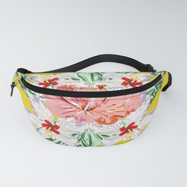 Bouquet of Hibiscus on Blue Fanny Pack