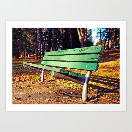 Autumn park bench Art Print