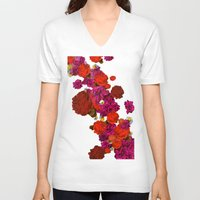 roses V-neck T-shirts featuring roses by Marcella Wylie