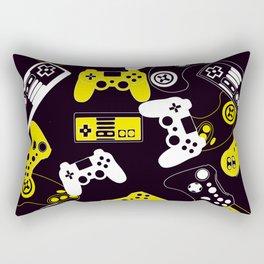 Video Games yellow on black Rectangular Pillow