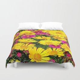 YELLOW COREOPSIS & FUCHSIA GARDEN FLOWERS Duvet Cover