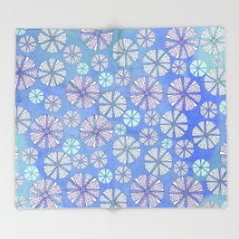 sea urchin blue watercolor Throw Blanket