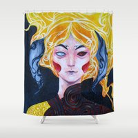 warrior Shower Curtains featuring Warrior by Ma. Luisa Gonzaga
