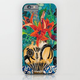 Amphitrite: Orange Lily and Wildflower Bouquet in Lion and Giraffe Urn on Emerald Matisse Inspired Wallpaper iPhone Case