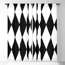 LARGE BLACK AND WHITE HARLEQUIN DIAMOND PATTERN Blackout Curtain