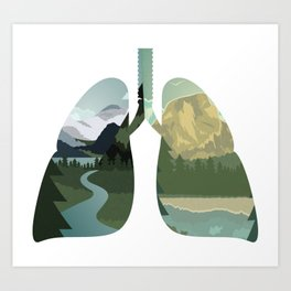 Inhale Nature | Clean Air Lung Breathing Art Print