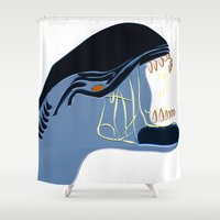 alien Shower Curtains featuring Alien by Jessica Slater Design & Illustration
