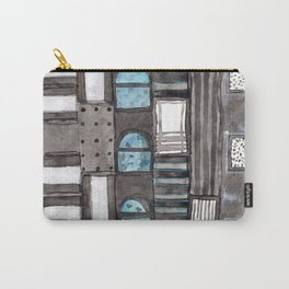 Gray Facade with Lighted Windows Carry-All Pouch